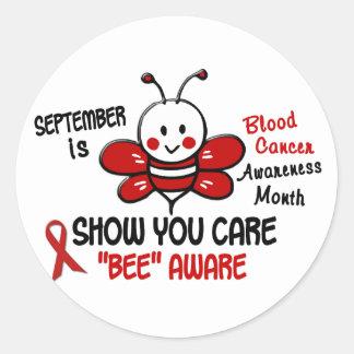 Abeja 1,1 del mes de la conciencia del cáncer de pegatinas redondas