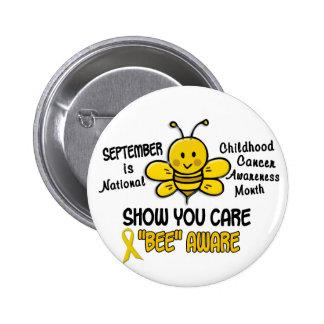 Abeja 1,1 del mes de la conciencia del cáncer de pin redondo de 2 pulgadas