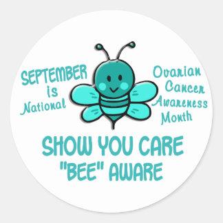 Abeja 1,1 del mes de la conciencia del cáncer pegatina redonda