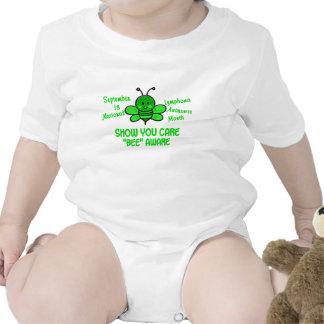 Abeja 1,1 del mes de la conciencia del linfoma trajes de bebé