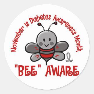 Abeja 1,2 del mes de la conciencia de la diabetes pegatina redonda