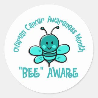Abeja 1,2 del mes de la conciencia del cáncer pegatina redonda