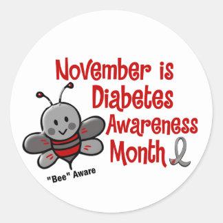 Abeja 1,3 del mes de la conciencia de la diabetes etiquetas redondas