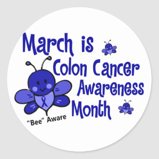 Abeja 1,3 del mes de la conciencia del cáncer de etiqueta redonda