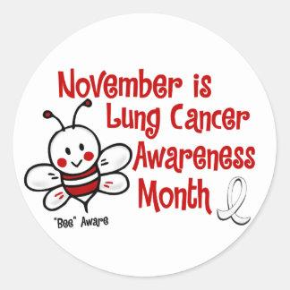 Abeja 1,3 del mes de la conciencia del cáncer de etiquetas redondas