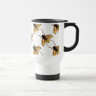 Abeja amarilla de la miel del vintage taza de viaje