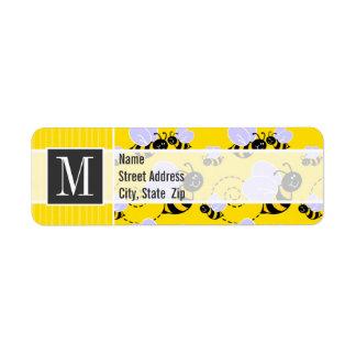 Abeja amarilla y negra elegante etiquetas de remite