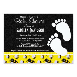 Abeja amarilla y negra elegante invitación personalizada