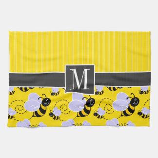 Abeja amarilla y negra elegante toalla de cocina