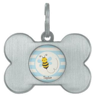 Abeja amarilla y negra linda en rayas de azules placa mascota