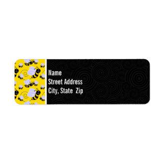 Abeja amarilla y negra linda etiqueta de remite