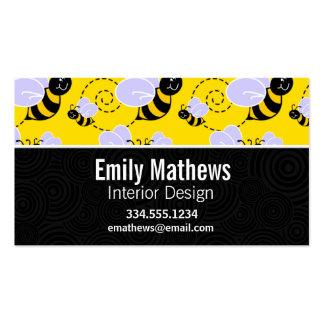 Abeja amarilla y negra linda tarjetas de visita