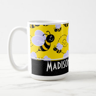 Abeja amarilla y negra linda tazas