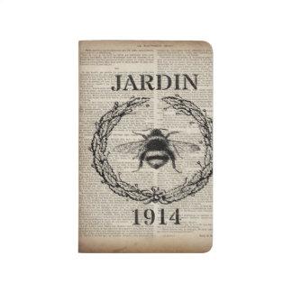 abeja botánica francesa elegante lamentable del cuaderno