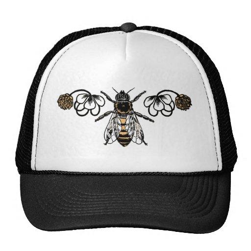 abeja con el trébol gorros bordados