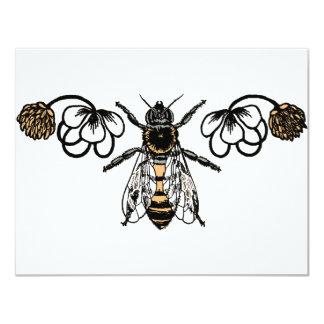 abeja con el trébol invitación 10,8 x 13,9 cm