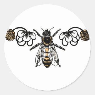 abeja con el trébol pegatina redonda