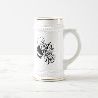 Abeja con la miel jarra de cerveza