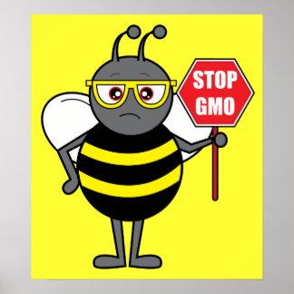Abeja con la muestra de la parada: GMO Posters