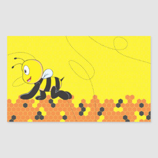 Abeja de arrastre sonriente feliz amarilla linda pegatina rectangular