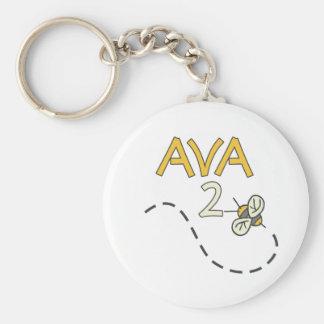Abeja de Ava 2 Llavero Redondo Tipo Pin