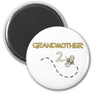 Abeja de la abuela 2 imán redondo 5 cm