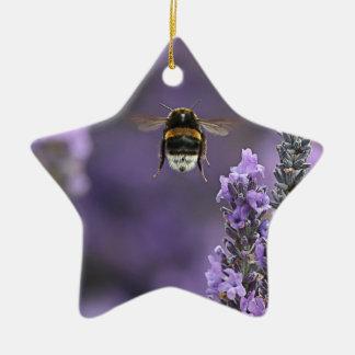 Abeja de la lavanda adorno de cerámica en forma de estrella
