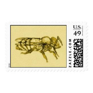 Abeja de la miel de la acuarela franqueo