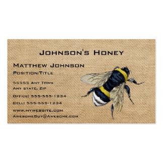 Abeja de la miel de la arpillera tarjetas de visita