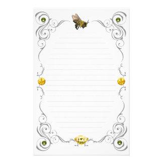Abeja de la miel de la voluta alineada papelería personalizada