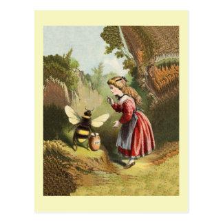 Abeja de la miel del vintage con la postal del chi