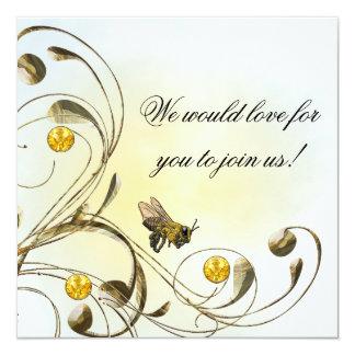 """Abeja de la miel invitación 5.25"""" x 5.25"""""""
