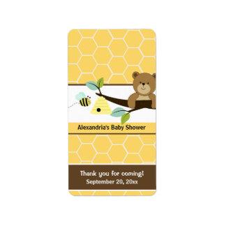 Abeja de la miel y envolturas de caramelo miniatur etiqueta de dirección