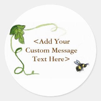 Abeja de la miel y etiquetas autoadhesivas verdes pegatina redonda