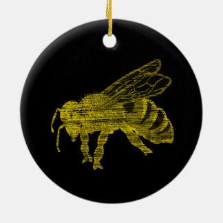 Abeja de la prensa de copiar adorno navideño redondo de cerámica