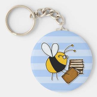 abeja de trabajador - bibliotecario llaveros