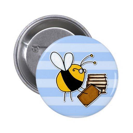 abeja de trabajador - bibliotecario pin redondo de 2 pulgadas
