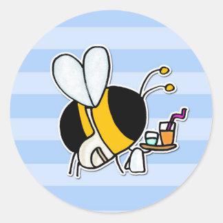 abeja de trabajador - camarera pegatina redonda