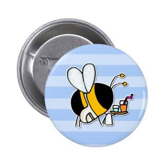 abeja de trabajador - camarera pin redondo de 2 pulgadas