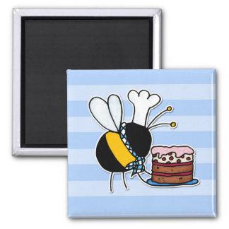 abeja de trabajador - chef de repostería imán cuadrado