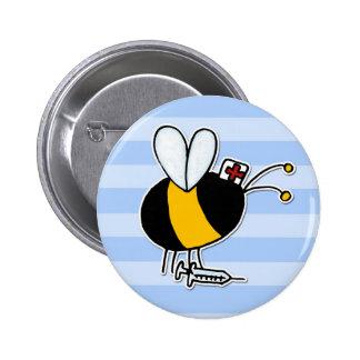 abeja de trabajador - enfermera pin redondo de 2 pulgadas