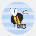 abeja de trabajador - fotógrafo pegatina redonda