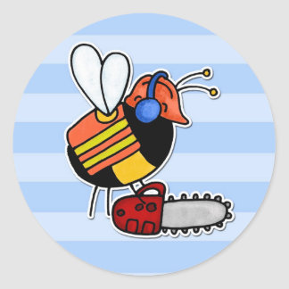 abeja de trabajador - leñador pegatina redonda
