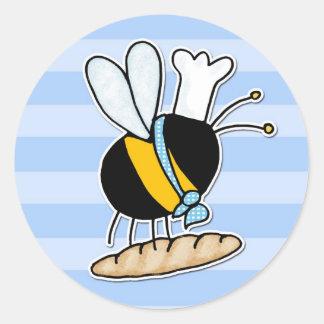 abeja de trabajador - panadero pegatina redonda