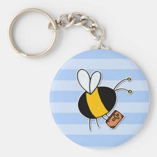 abeja de trabajador - predicador llavero redondo tipo pin