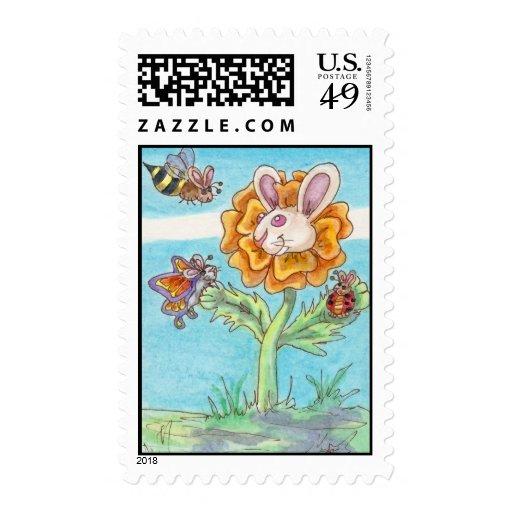 Abeja del conejito de la maravilla, mariposa y franqueo