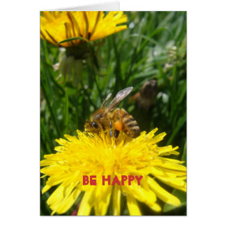 Abeja del diente de león feliz tarjeta de felicitación
