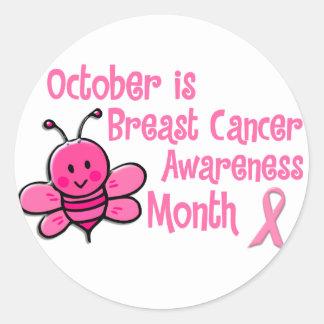 Abeja del mes de la conciencia del cáncer de pecho pegatinas redondas