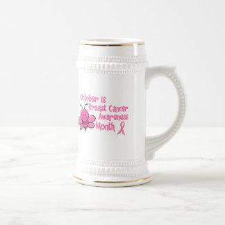 Abeja del mes de la conciencia del cáncer de pecho tazas de café
