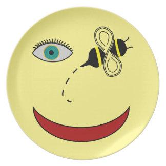 Abeja del ojo feliz platos para fiestas